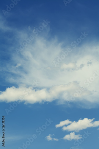 Canvas Prints Heaven Blue sky cloudy weather. Summertime tranquil cloudscape. Different size white clouds.