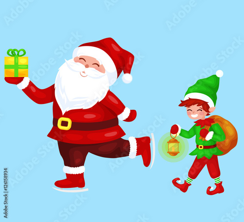 Merry Christmas Funny Santa Claus With Gift On Skates Elf With Bag Full Of