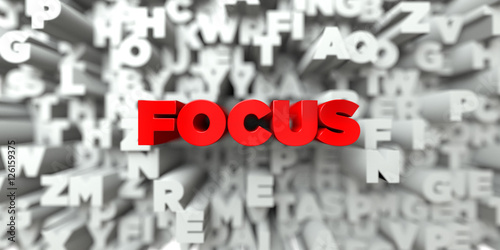 Fototapeta FOCUS -  Red text on typography background - 3D rendered royalty free stock image. This image can be used for an online website banner ad or a print postcard.