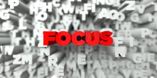 Zdjęcie XXL FOCUS - Czerwony tekst na tle typografii - 3D renderowany obraz royalty free. Ten obraz może być użyty do banera reklamowego online lub pocztówki drukowanej.
