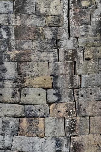 Mortarless stone block wall, Preah Khan Temple, Siem Reap
