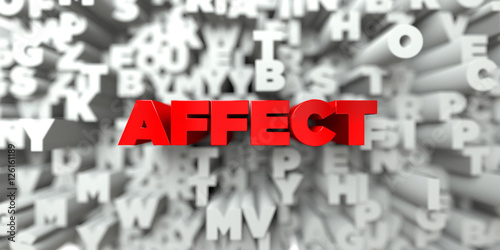 Fotografija  AFFECT -  Red text on typography background - 3D rendered royalty free stock image