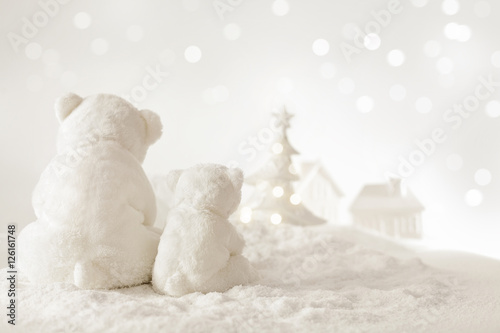 Deurstickers Ijsbeer christmas landscape with teddy bears and christmas tree on the snow