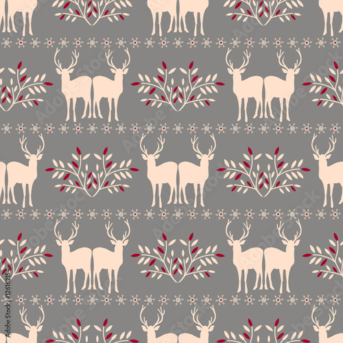 Cotton fabric Vector seamless  Christmas pattern with deer.