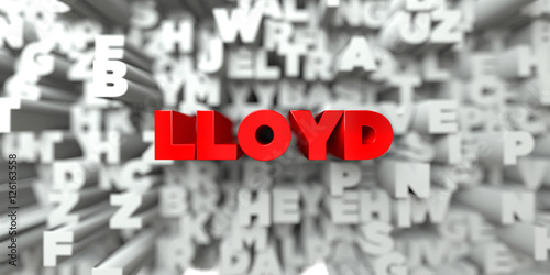 Photo  LLOYD -  Red text on typography background - 3D rendered royalty free stock image
