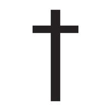 Print Vector Illustration Black Cross On A White Background