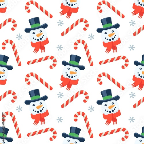 Cotton fabric Seamless flat Christmas pattern of candy cane and snowman