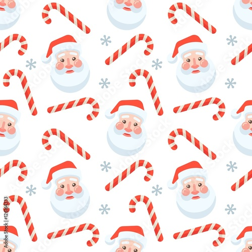 Cotton fabric Seamless flat Christmas pattern of candy cane and Santa Claus