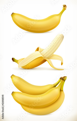 Fotografie, Obraz  Banana. Sweet fruit. 3d vector icons set. Realistic illustration