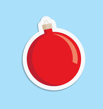 A Vector Illustration Of A Red Christmas Bauble Decoration With A White Surround On A Light Blue Background