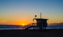 Santa Monica Lifeguard Station At Sunset