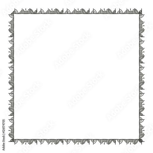 Foto auf AluDibond Boho-Stil boho frame icon. Bohemic ornament indian and decoration theme. Black and white design. Vector illustration
