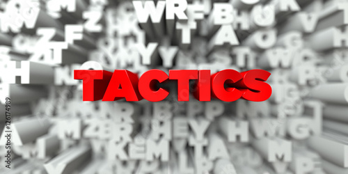 Fotografía  TACTICS -  Red text on typography background - 3D rendered royalty free stock image