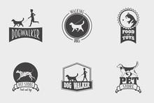 Set Of Vector Pet Shop Or Store, Dog Walker Logos, Badges And Labels Design Templates.