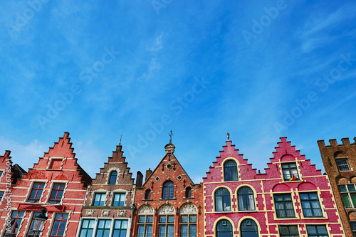Poster Brugge Medieval buildings on Grote Markt square in Brugge, Belgium