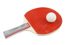 Table Tennis Bat And Ball On P...