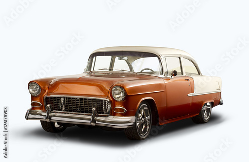 Keuken foto achterwand Vintage cars Vintage 1955 Chevrolet Bel Air - White Background
