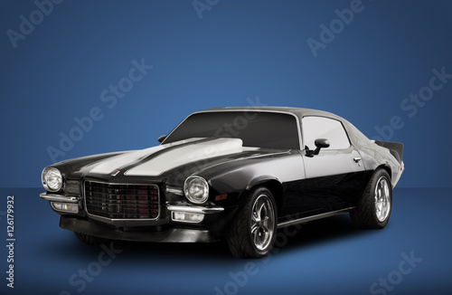 Black Vintage Convertible Muscle Car on Blue Background Canvas Print