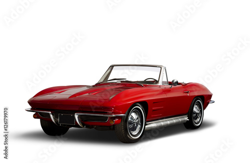 Poster Vintage cars Red Vintage Convertible Automobile on White Background
