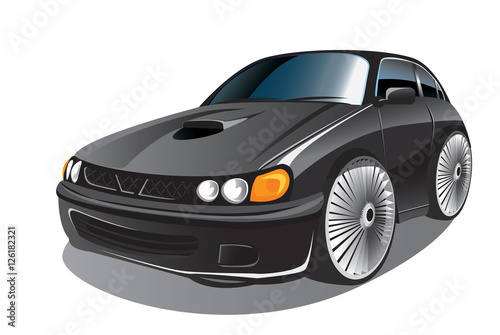 Staande foto Cartoon cars Vector illustration of elegant black sport car in cartoon style
