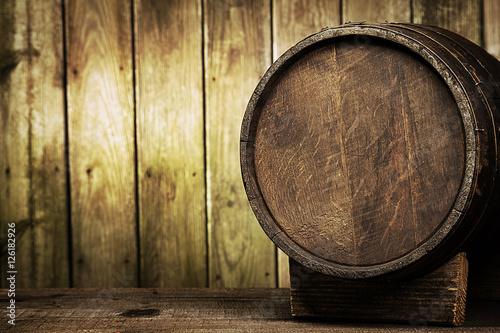 barrel on wood background