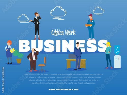 Office Work Business Banner With Successful Business People