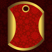 Round Red And Gold Banner With Snowflakes