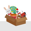 children toys set icons vector illustration design
