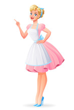 Beautiful Housewife In Pink Dress Finger Point Up. Vector Illustration.