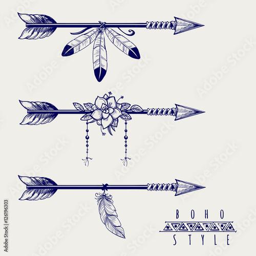strzalki-w-stylu-boho-z-pior-i-kwiatow-ilustracji-wektorowych