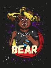 Furious Russian Bear With Vodka And Balalaika Vector Logo