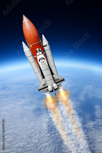 Space shuttle taking off to the sky ( NASA image not used )