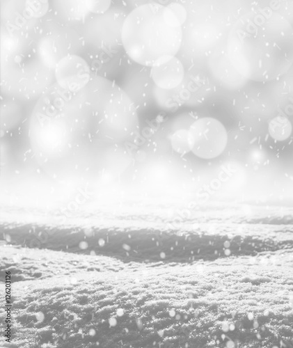 Fototapeta Winter snowy landscape in shades of gray obraz na płótnie