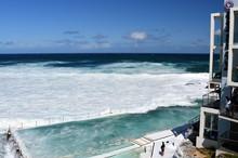 Sydney, Australia - Oct 23, 2016. Bondi Iceberg's Swimming Pools With Ocean View At High Tide. Big Tide At Bondi Beach The Waves Fill The Icebergs Club Pool.