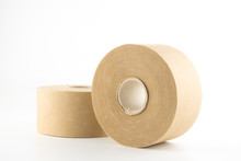 Paper Tape, Packing Tape, Brown Tape On White Background.