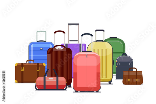 Travel bags and luggage color vector Wallpaper Mural