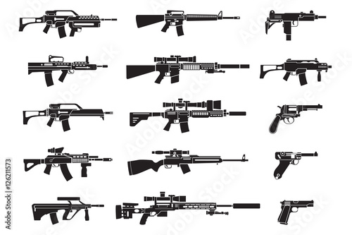 Obraz na płótnie Machine gun and handgun, rifle pistol icons