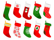 Christmas Socks. Vector Striped Hanging Stockings With Snowflakes Isolated On White Background