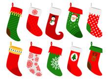 Christmas Socks. Vector Stripe...