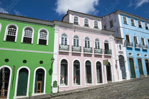 The historic city center of Pelourinho in Salvador da Bahia, Brazil featuring co Canvas Print