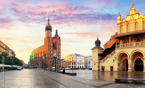 Panorama Market Square at sunrise in Krakow, Poland