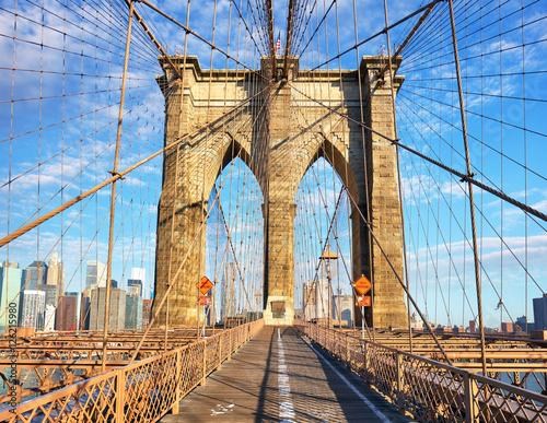 In de dag Bruggen Brooklyn Bridge, New York City, nobody