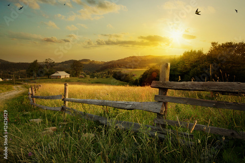 Poster Village art countryside landscape; rural farm and farmland field