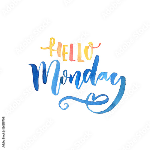 Hello Monday text Wallpaper Mural