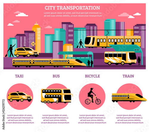 City Transportation Infographics Layout Canvas Print