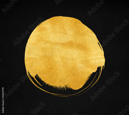 Golden paint stain on black paper background. Gold circle texture Wallpaper Mural