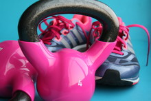 Pink Kettlebell And Sports Sho...