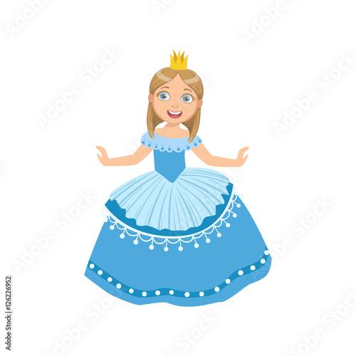 In de dag Sprookjeswereld Little Girl In Blue Dress Dressed As Fairy Tale Princess
