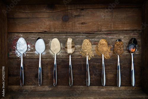 Fotografie, Obraz  Different Kinds of Sugar in the Spoons