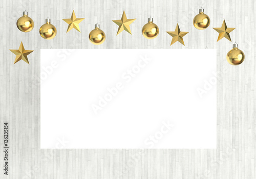 Blank Poster With Hanging Golden Balls And Stars Ornaments On White